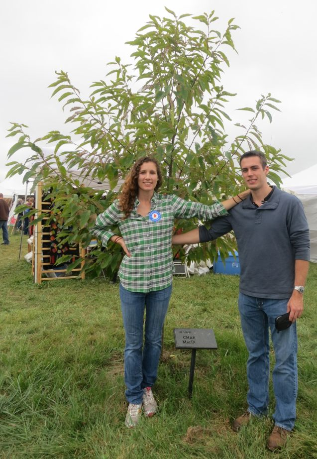 Brad and Eva with Charlie's Chestnut Tree